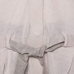 جاكيت برونيللو كوتشينيلي تريكو بيج بحزام أزرارأمامية مقاس كبير جدًا (إكس لارج)