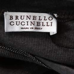 توب برونيللو كوتشينيلي تريكو رصاصي مضلغ خرز على العنق مقاس صغير - سمول