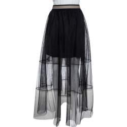 تنورة برونيلو كوتشينيلي ماكسي طبقة متدرجة تول أسود M
