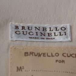 Brunello Cucinelli Ecru Silk Monili Trim Vest M