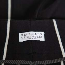 بنطلون ضيق برونيلو كوتشينيلي قطن مخطط أسود M