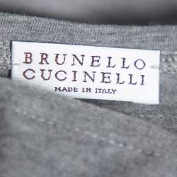 Brunello Cucinelli Grey Silk Ruffled Sleeveless Top XXL