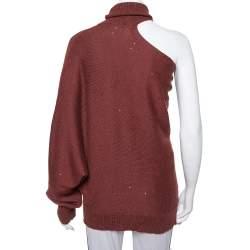 Brunello Cucinelli Burgundy Cashmere & Silk Sequin Embellished Off Shoulder Pullover M