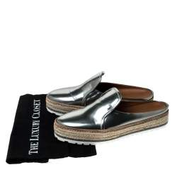 Brunello Cucinelli Metallic Silver Leather Espadrille Mules Size 40