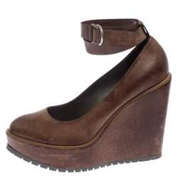 Brunello Cucinelli Brown Textured Leather Ankle Strap Platform Wedge Pumps Size 38