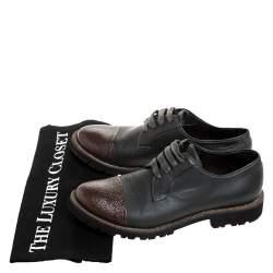 Brunello Cucinelli Dark Grey/Brown Leather Cap Toe Lace Oxfords Size 37