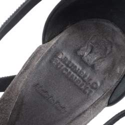 Brunello Cucinelli Metallic Grey Bead And Leather Strappy Sandals Size 36