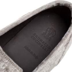 Brunello Cucinelli Metallic Beige Velvet  Embellished Smoking Slipper Size 40