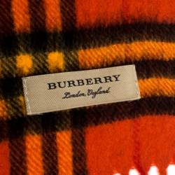 Burberry Orange Classic Vintage Check Cashmere Scarf