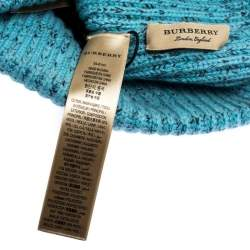 Burberry Topaz Blue Marled Wool Blend Knit Crest Embroidered Beanie