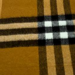 Burberry Umber Yellow Giant Check Cashmere Scarf