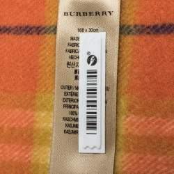 Burberry Orange Classic Vintage Check Cashmere Scarf