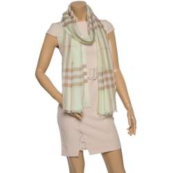 Burberry Pistachio Green Giant Check Silk Wool Scarf