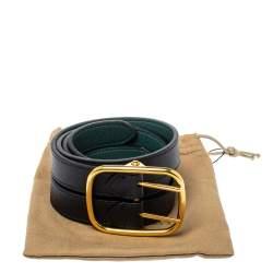 Burberry Black/Green Leather Lynton Double Strap Belt 95CM