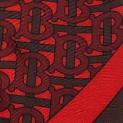 Burberry Crimson Red Logo Monogram Silk Hair Scarf