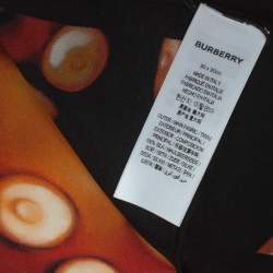 Burberry Black & Coral Octopus And Logo Graphic Print Silk Square Scarf