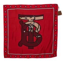 Burberry Red Logo Monogram Silk Square Scarf