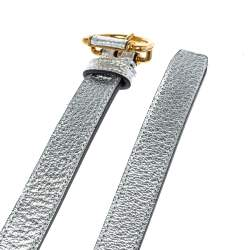 Burberry Metallic Silver Leather Slim Belt 85CM