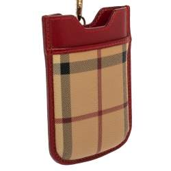 Burberry Beige/Red Nova Check PVC and Leather Phone Holder