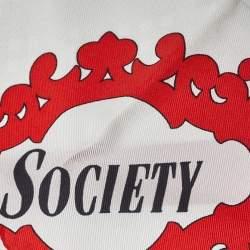 Burberry White Archive Society Print Silk Hair Scarf