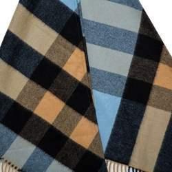 Burberry Blue Half Mega Check Cashmere Bandana