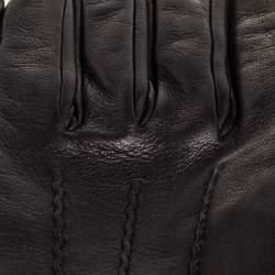 Burberry Black Leather Short Gloves
