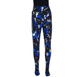 Burberry Blue Graffiti Print Stretch Jersey Footed Leggings S