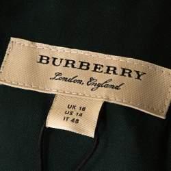 Burberry Dark Forest Green Silk and Wool Blend Shift Dress L