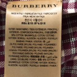 Burberry Burgundy Plaid Check Cotton Blazer L
