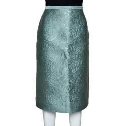 Burberry Prorsum Light Green Floral Embossed Pencil Skirt S
