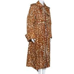 Burberry Brown Deer Printed Exaggerated Cuff Detail Belted Trench Coat M