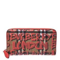 Burberry Multicolor Graffiti Print Check Coated Canvas Zip Around Wallet