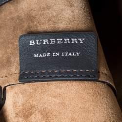 Burberry Black Leather Medium Grommet Detail Tote