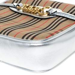 Burberry Silver/Beige Haymarket Check Canvas and Leather Link Bum Belt Bag