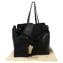 Burberry Black Leather Large Soft Belt Tote