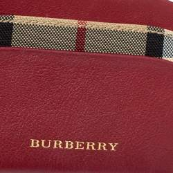 Burberry Burgundy/Beige Leather and Check Canvas Izzy Card Holder