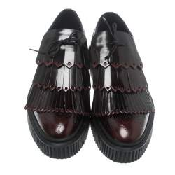 Burberry Two Tone Brogue Leather Chelsam Lace Up Platform Oxfords Size 40