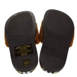 Burberry Brown Shearling And Vintage Check Kencot Slides Size 39.5