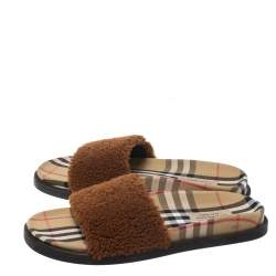 Burberry Brown Shearling And Vintage Check Canvas Kencot Flat Slides Size 40