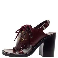 Burberry Burgundy Leather Beverley Fringe Slingback Sandals Size 36