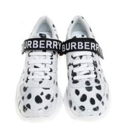 Burberry White/Black Cheetah Print Leather Ronnie Sneakers Size 41