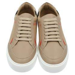 Burberry Brown House Check Canvas Low-Top Sneakers Size EU 38