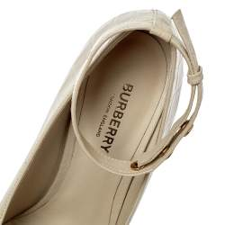 Burberry Beige Croc Embossed Leather Jermyn Ankle Cuff Pumps Size 38.5