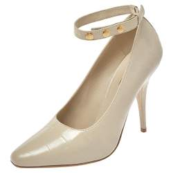 Burberry Beige Croc Embossed Leather Jermyn Ankle Cuff Pumps Size 39.5