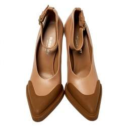 Burberry Brown Leather And Rubber Evan Ankle Strap Pumps Size 37.5