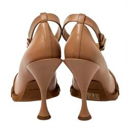 Burberry Brown Leather And Rubber Evan Ankle Strap Pumps Size 40