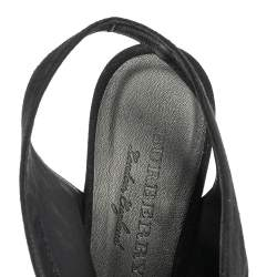 Burberry Black Suede Onwen Slingback Pumps Size 38.5