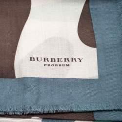 Burberry Prorsum Multicolor Large Camouflage Print Fringed Edge Cashmere Scarf