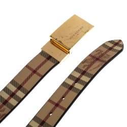 Burberry Beige Haymarket Check Coated Canvas Flip Buckle Belt 90Cm