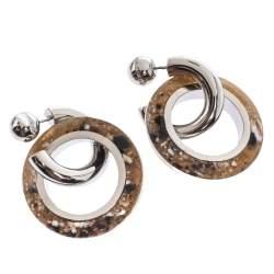 Burberry Caramel Marbled Resin Palladium Plated Double Grommet Earrings